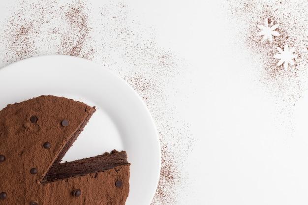 Vista superior do bolo de chocolate
