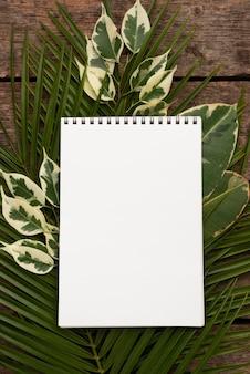 Vista superior do caderno nas folhas da planta