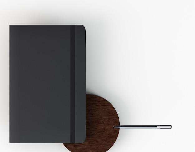 Vista superior do caderno preto de papelaria corporativa em branco