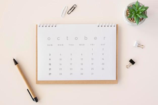 Vista superior do calendário do planejador com planta suculenta