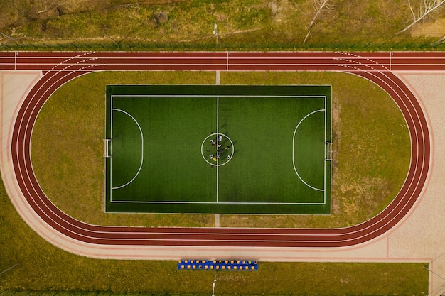 Vista superior do campo de futebol