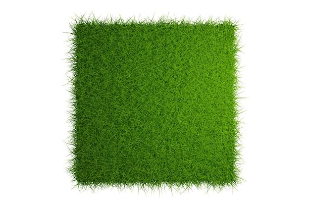 Vista superior do campo de grama isolado no fundo branco com recorte