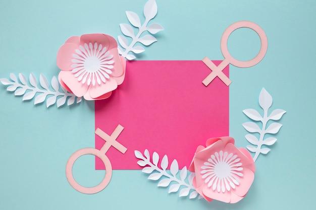 Vista superior do cartão com flores e símbolo feminino para o dia da mulher