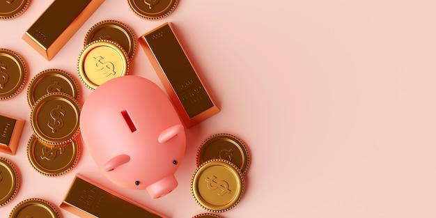 Vista superior do cofrinho com barra de ouro e moeda de um dólar, ilustração 3d