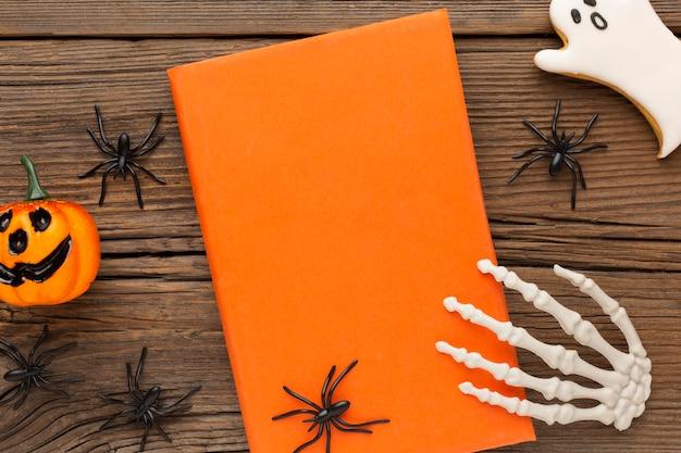 Vista superior do conceito assustador de halloween com aranhas