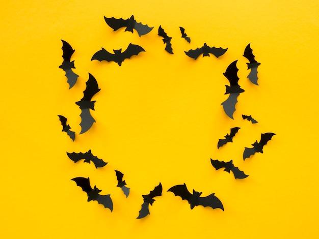 Vista superior do conceito assustador de halloween com morcegos