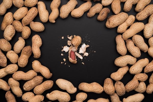 Vista superior do conceito de amendoins