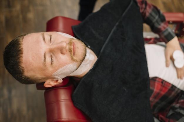 Vista superior do conceito de barbearia