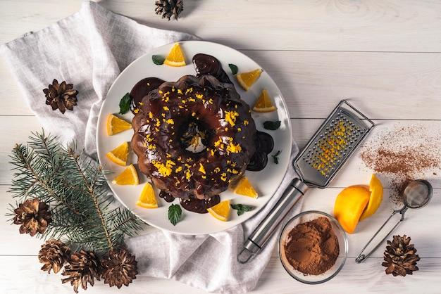 Vista superior do conceito de bolo de chocolate