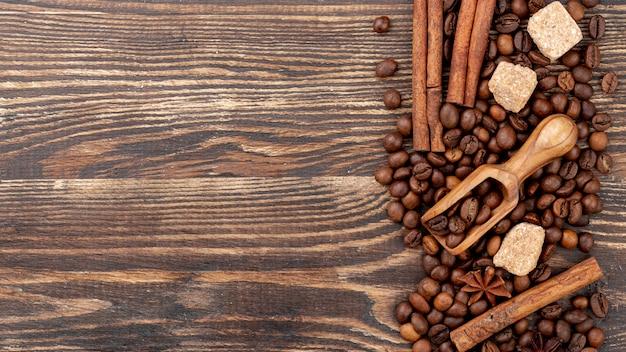Vista superior do conceito de café com espaço de cópia