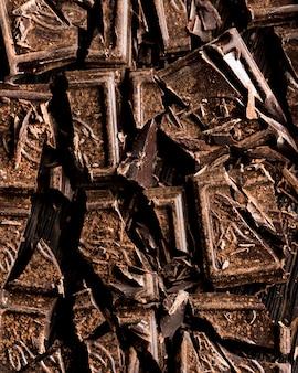 Vista superior do conceito de chocolate crocante