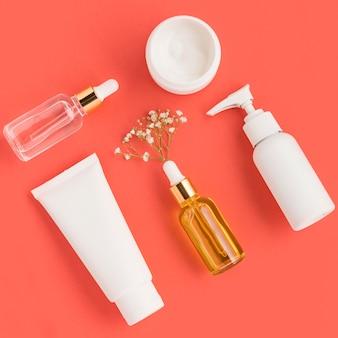 Vista superior do conceito de cosméticos naturais