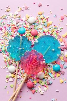 Vista superior do conceito de deliciosos doces