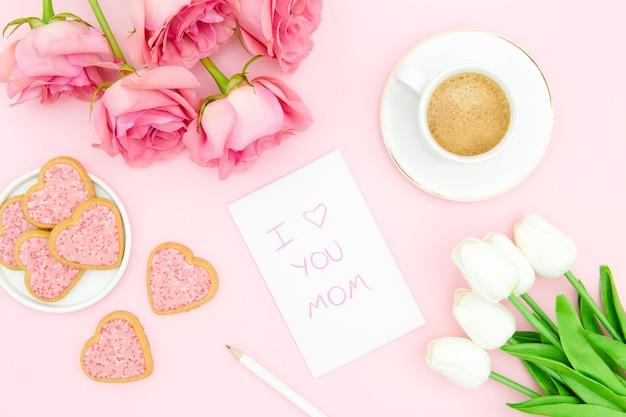 Vista superior do conceito de dia das mães