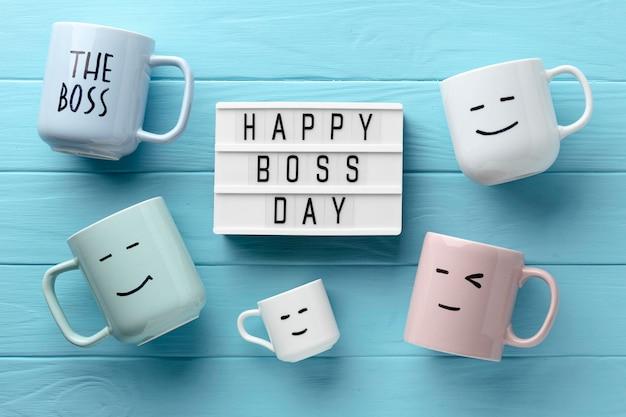 Vista superior do conceito de dia feliz chefe