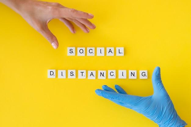 Vista superior do conceito de distanciamento social