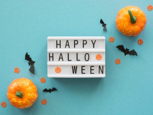 Vista superior do conceito de halloween com abóboras