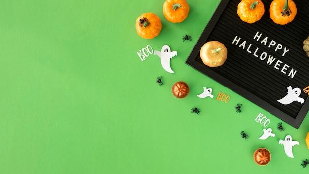 Vista superior do conceito de halloween com espaço de cópia