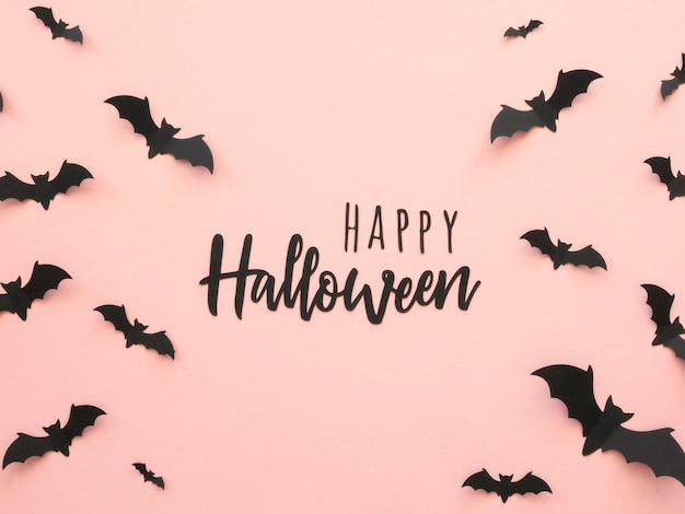 Vista superior do conceito de halloween com morcegos
