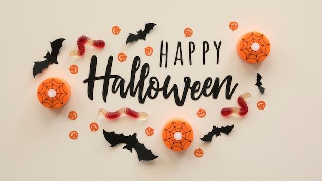 Vista superior do conceito de halloween com saudação