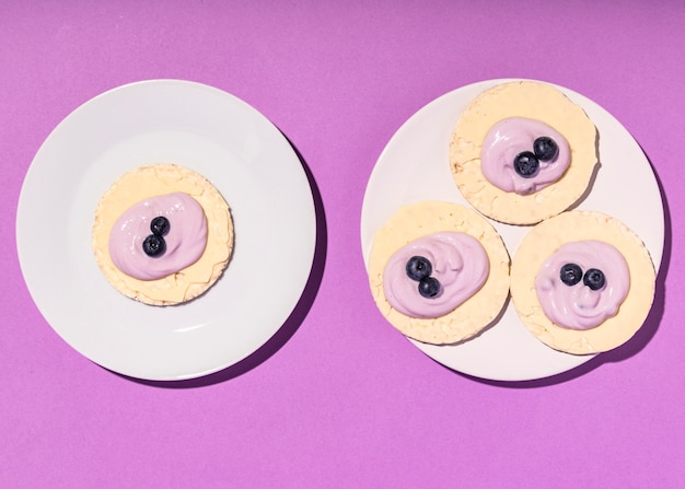 Vista superior do conceito de iogurte delicioso