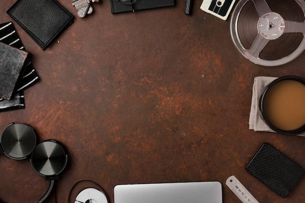 Vista superior do conceito de mesa com espaço de cópia