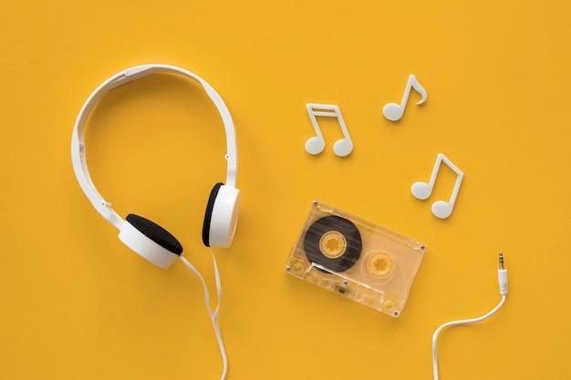 Vista superior do conceito de música de fones de ouvido