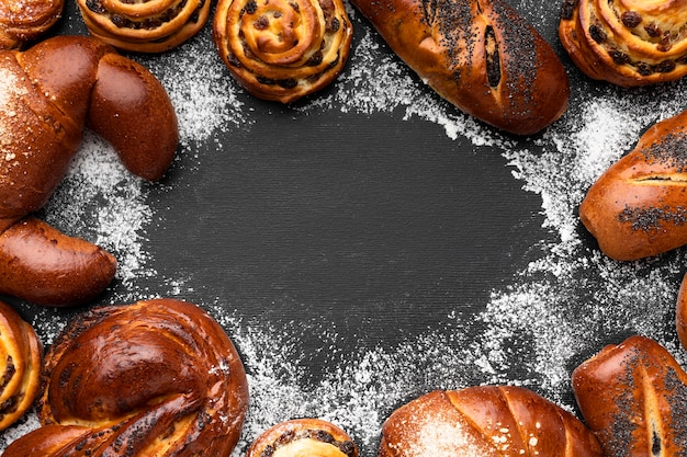 Vista superior do conceito de pastelaria deliciosa Foto Premium