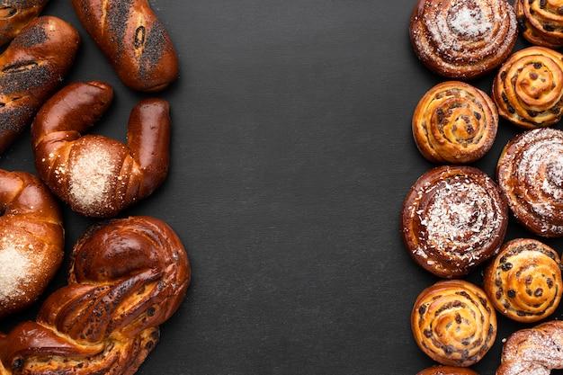 Vista superior do conceito de pastelaria deliciosa Foto gratuita