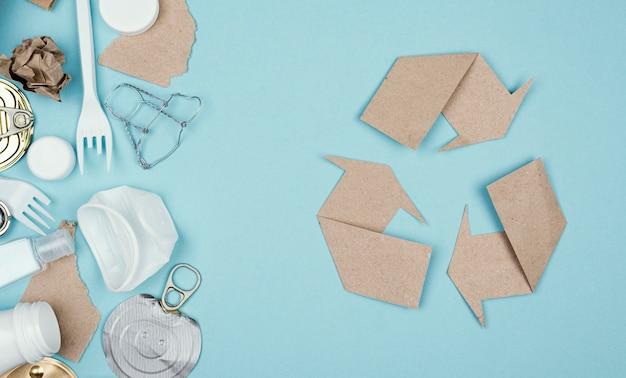 Vista superior do conceito de reciclagem
