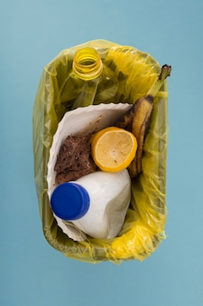 Vista superior do conceito de resíduos alimentares