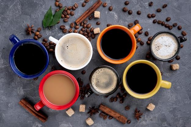 Vista superior do conceito de xícaras de café