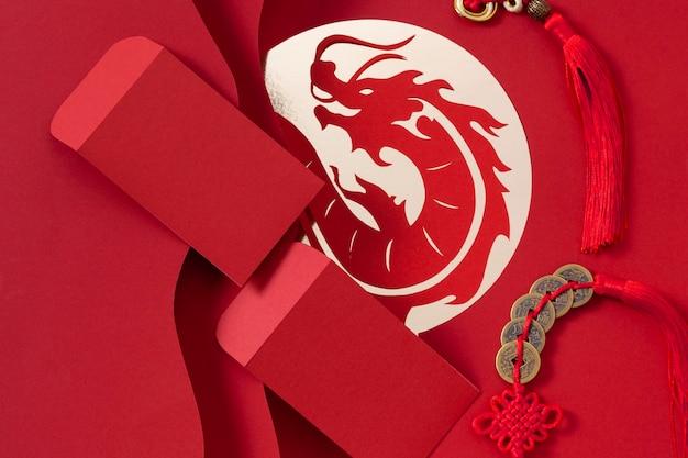 Vista superior do conceito do ano novo chinês