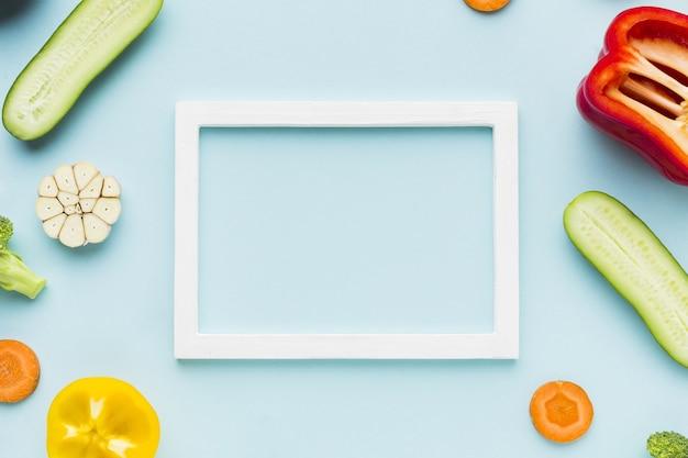 Vista superior do conceito e quadro de legumes