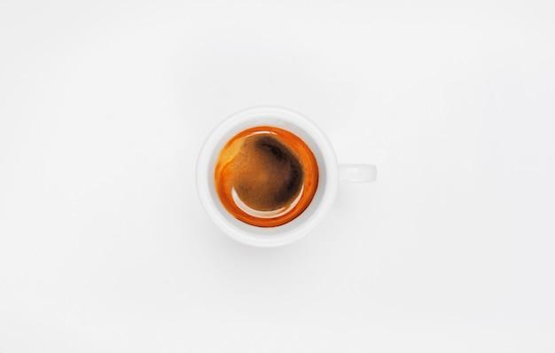 Vista superior do copo de café espresso