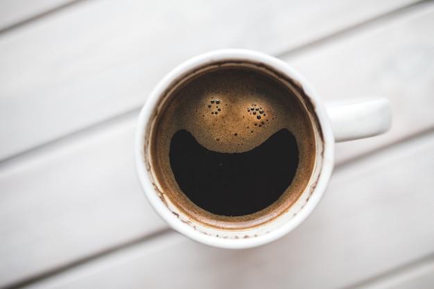 Vista superior do copo de café