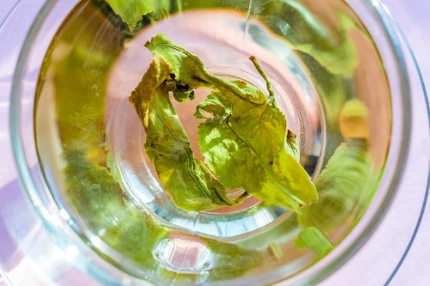 Vista superior do copo transparente com chá verde sobre fundo roxo.