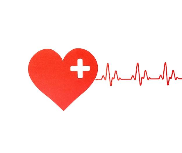 Vista superior do coração de papel com batimento cardíaco para o dia mundial do coração
