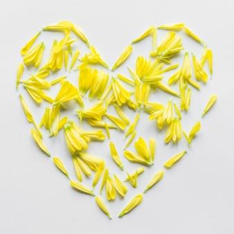 Vista superior do coração feito de pétalas amarelas