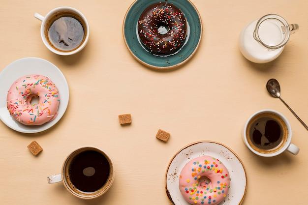 Vista superior do delicioso arranjo de donuts
