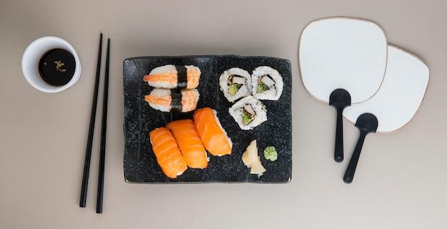 Vista superior do delicioso conceito de sushi