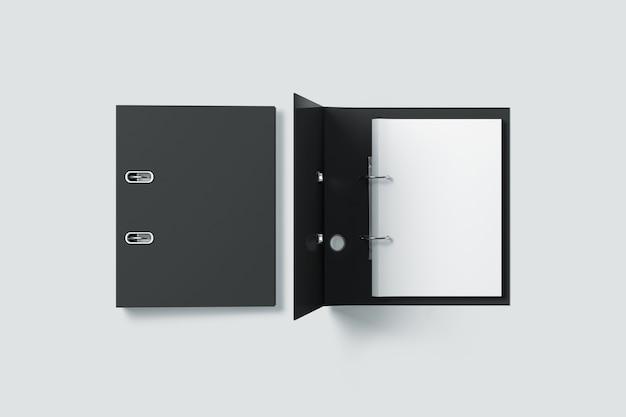 Vista superior do design da pasta de fichário preta em branco