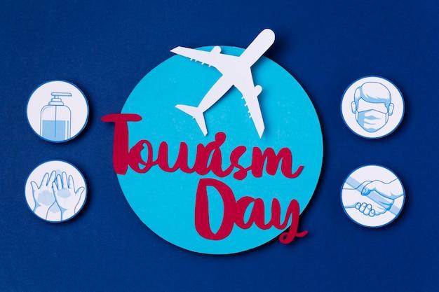 Vista superior do dia mundial do turismo com letras