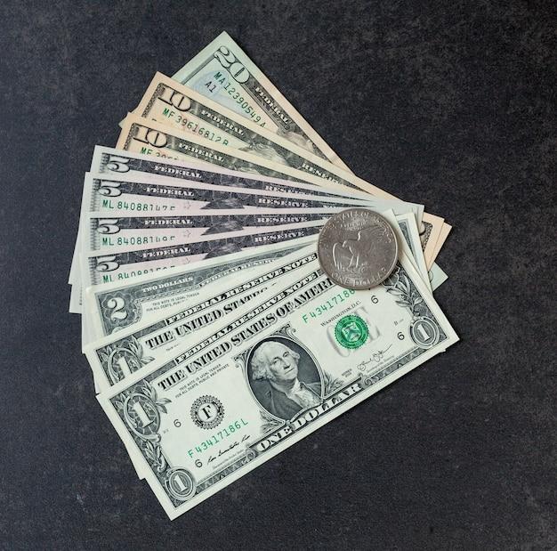 Vista superior do dinheiro