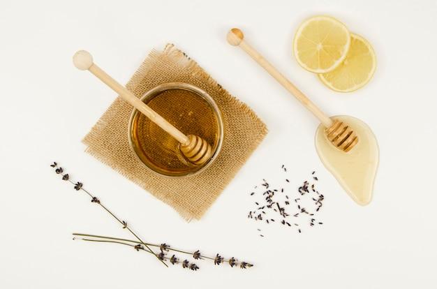 Vista superior do doce mel