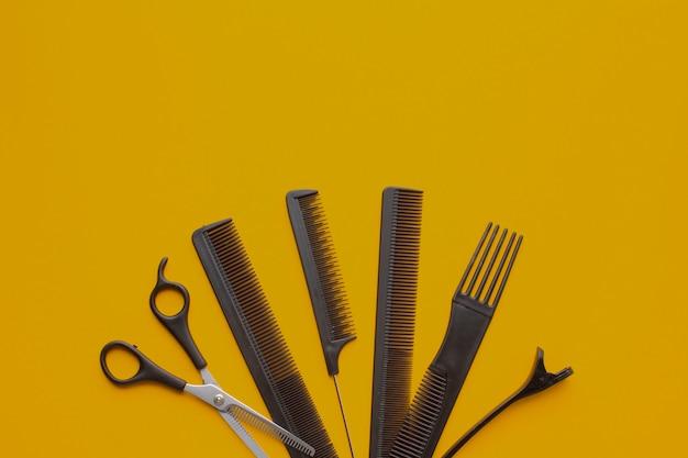 Vista superior do equipamento de cabeleireiro profissional