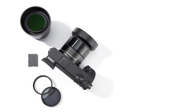 Vista superior do equipamento fotográfico isolado. conceito de fotografia.