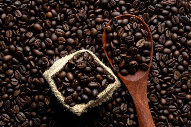 Vista superior do fundo do grão de café