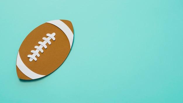 Vista superior do futebol americano com espaço de cópia