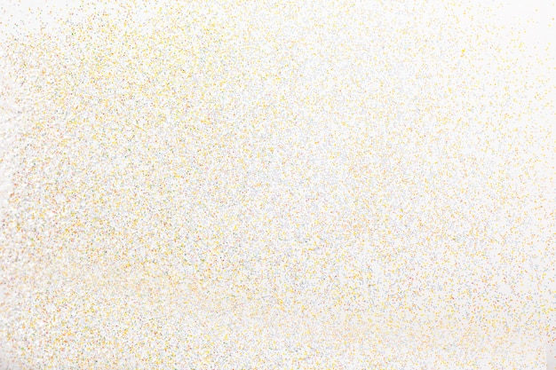 Vista superior do glitter dourado